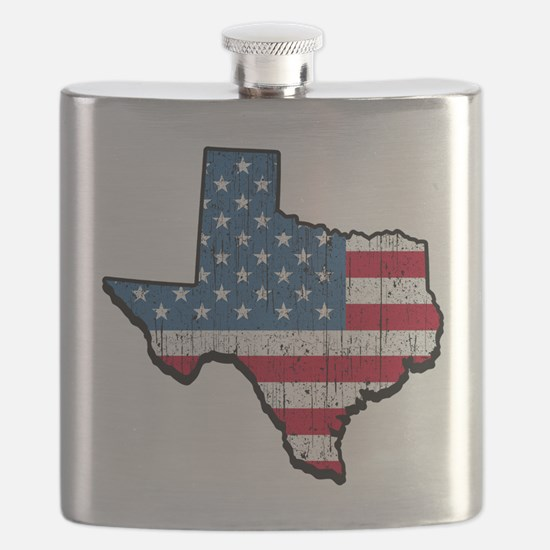 Texas USA American Flag Flask