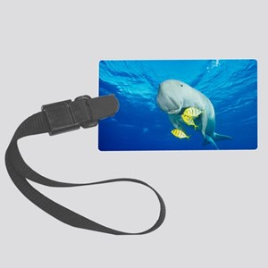 Dugong, remora and golden treval Large Luggage Tag