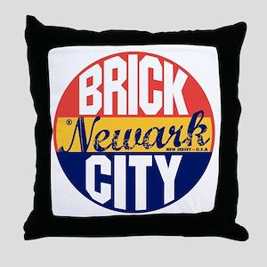 Newark Vintage Label B Throw Pillow