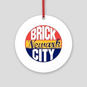 Newark Vintage Label B Round Ornament