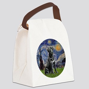 Starry-Black Labrador Canvas Lunch Bag