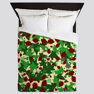 Ladybugs and Ivy on Sunny Yellow Queen Duvet