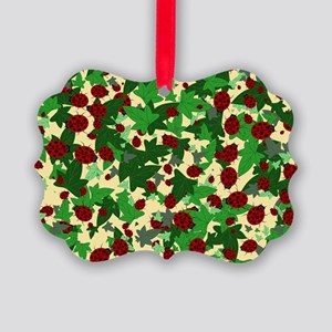 Ladybugs and Ivy on Sunny Yellow Picture Ornament