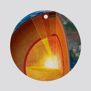 Earth's internal structure, artwork Round Ornament