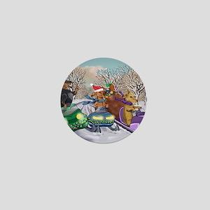 Snowmobile Dachshunds Mini Button
