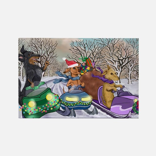 Snowmobile Dachshunds Rectangle Magnet