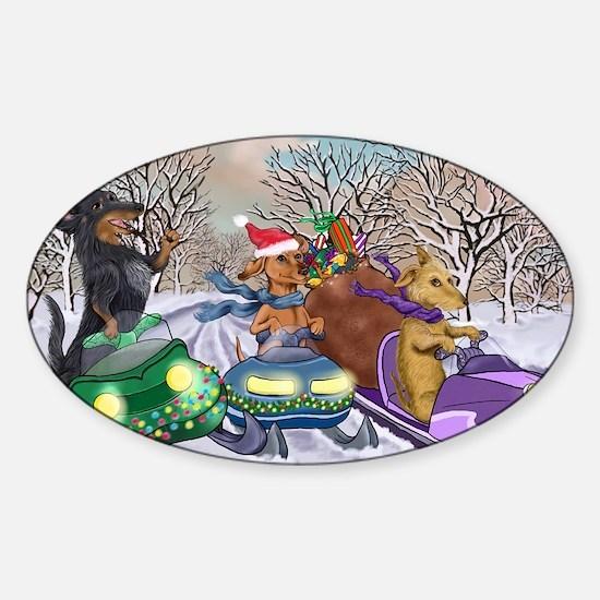 Snowmobile Dachshunds Sticker (Oval)