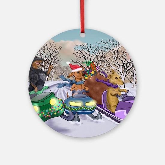 Snowmobile Dachshunds Round Ornament