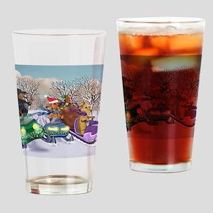 Snowmobile Dachshunds Drinking Glass