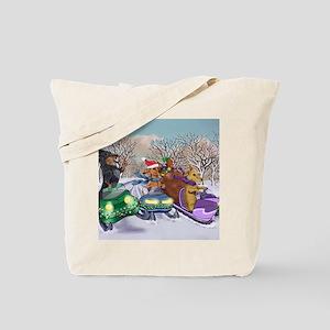 Snowmobile Dachshunds Tote Bag