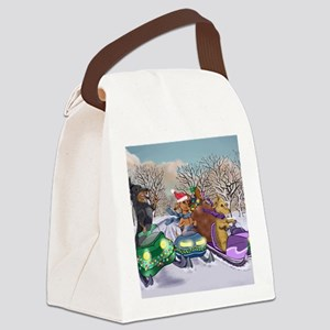 Snowmobile Dachshunds Canvas Lunch Bag