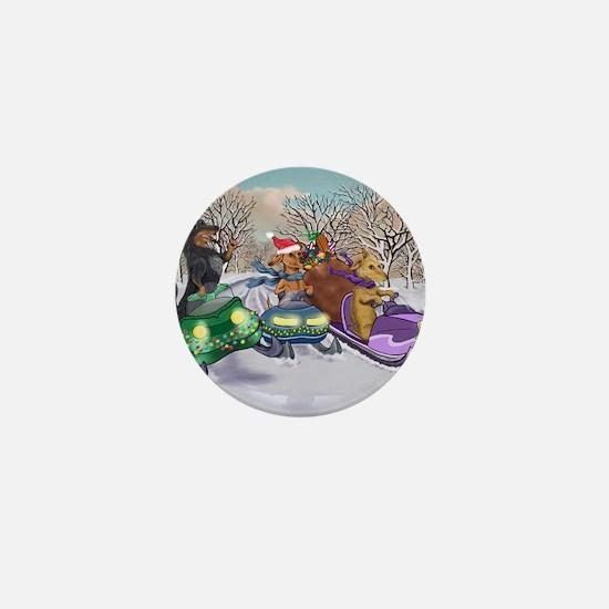 Dachshund Christmas Snowmobiles Mini Button