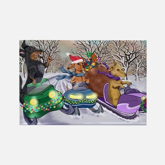 Dachshund Christmas Snowmobiles Rectangle Magnet