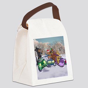 Dachshund Christmas Snowmobiles Canvas Lunch Bag