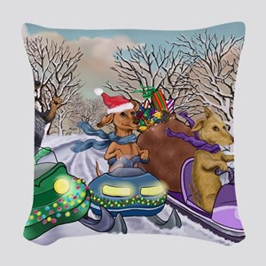 Weiner Dogs Snowmobiling Woven Throw Pillow
