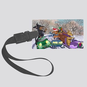 Weiner Dogs Snowmobiling Large Luggage Tag