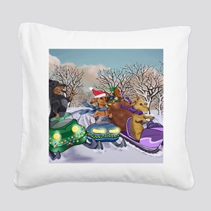 Weiner Dogs Snowmobiling Square Canvas Pillow
