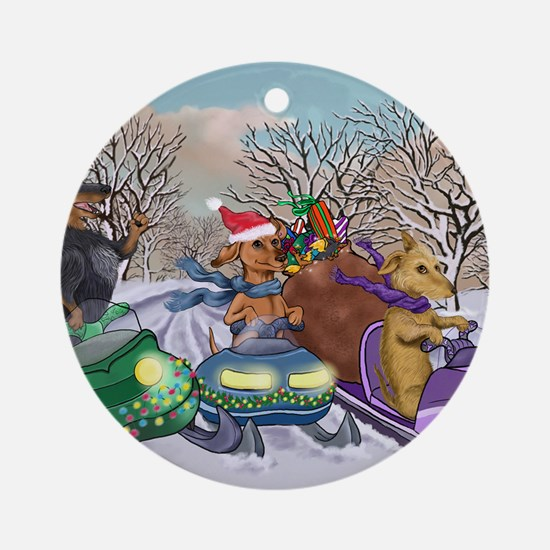 Weiner Dogs Snowmobiling Round Ornament
