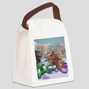 Weiner Dogs Snowmobiling Canvas Lunch Bag