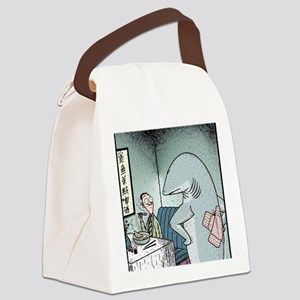 Angry Fin-less Shark Canvas Lunch Bag