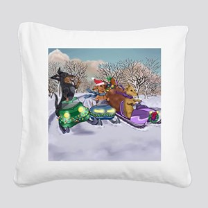 Snowmobiling Dachshunds Square Canvas Pillow