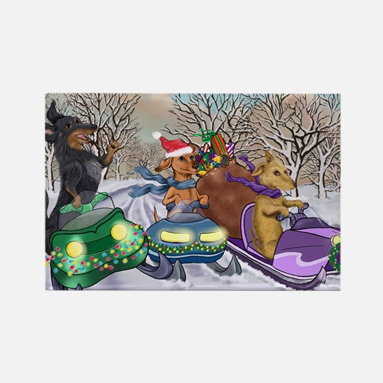 Snow Mobile Wieners Rectangle Magnet