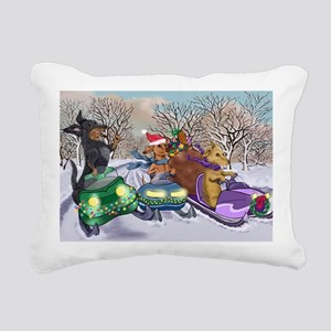 Snow Mobile Wieners Rectangular Canvas Pillow