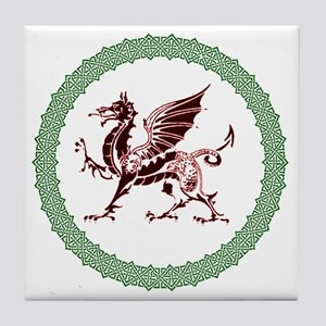 Celtic Knots And Red Dragon Tile Coaster