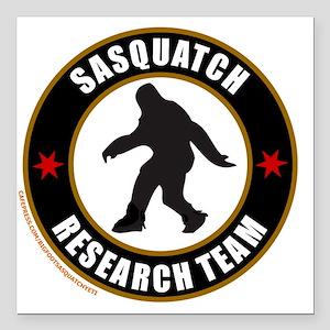 """SASQUATCH RESEARCH TEAM  Square Car Magnet 3"""" x 3"""""""