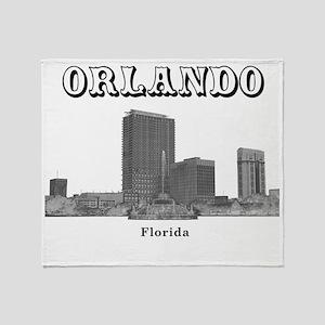 Orlando_12x12_LakeEolaFountain_Black Throw Blanket