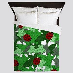 Ladybugs and Ivy white Queen Duvet