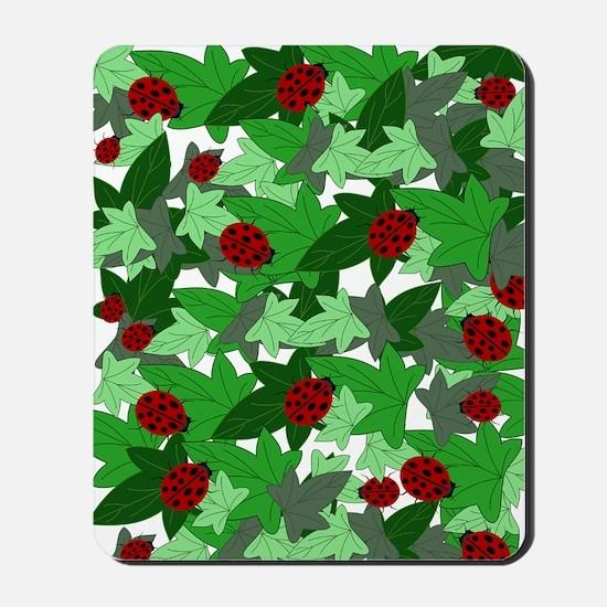 Ladybugs and Ivy white Mousepad