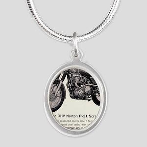 1967 Norton Dynamite Motorcyc Silver Oval Necklace