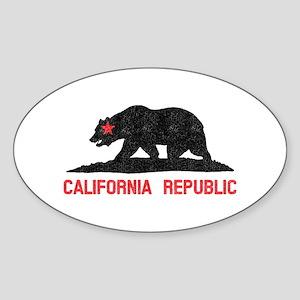 California Republic Grunge Bear Sticker (Oval)