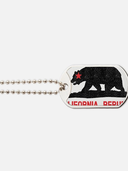 California Republic Grunge Bear Dog Tags