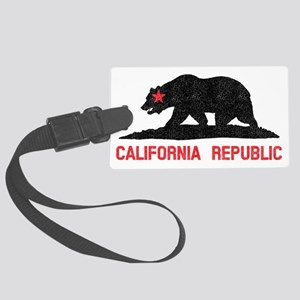 California Republic Grunge Bear Large Luggage Tag