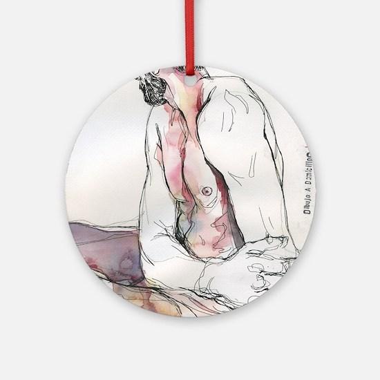 Watercolor male figure Round Ornament