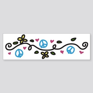 Peace And Flowers Sticker (Bumper)