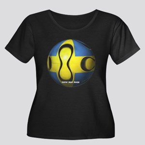 Sweden Soccer Women's Plus Size Scoop Neck Dark T