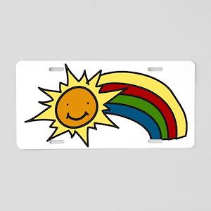 Sun And Rainbow Aluminum License Plate