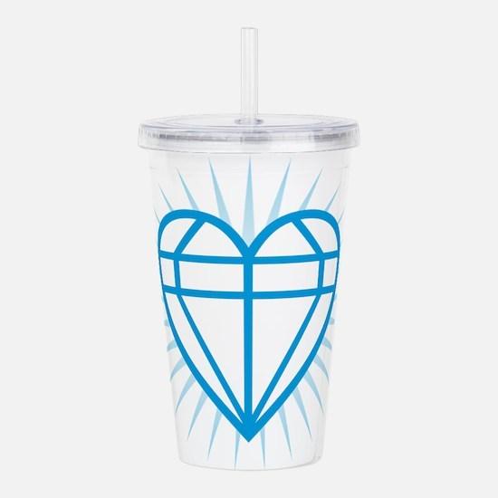 Blue Diamond Heart Acrylic Double-wall Tumbler