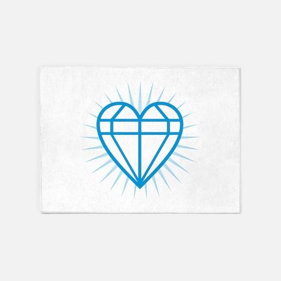 Blue Diamond Heart 5'x7'Area Rug