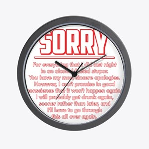 Sorry for Being Drunk Wall Clock