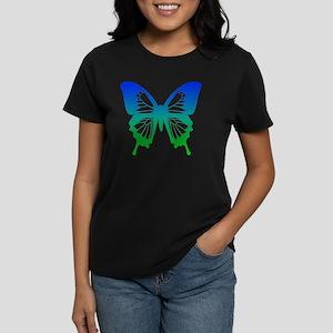 Butterfly - Blue/Green Women's Dark T-Shirt