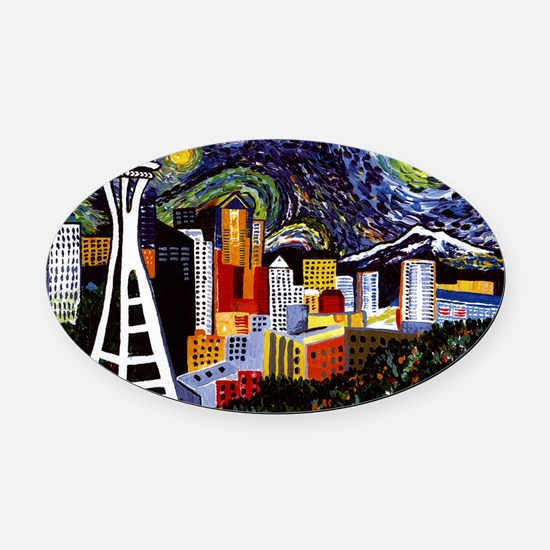 Seattle Starry Night Oval Car Magnet