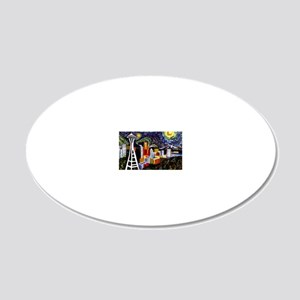 Seattle Starry Night 20x12 Oval Wall Decal