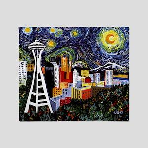 Seattle Starry Night Throw Blanket