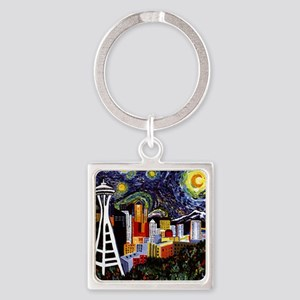 Seattle Starry Night Square Keychain