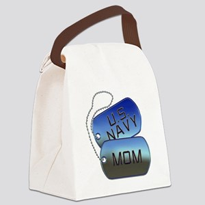 Navy Mom - Mother Dog Tag Canvas Lunch Bag