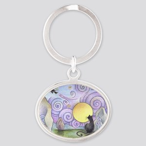 when witches fly Oval Keychain